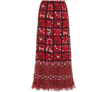 Ruffle-trimmed Printed Georgette Maxi Skirt
