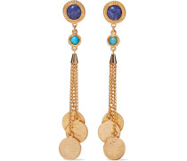 24-karat -plated, Turquoise And Stone Earrings