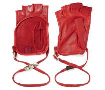 Studded Leather Fingerless Gloves Rot