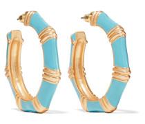 Gold-tone Enamel Earrings Türkis