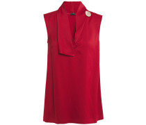 Siof Button-embellished Draped Satin-crepe Top