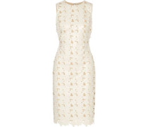 Fey embroidered faux leather dress