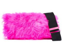 Ray Baguette Neon Shearling And Leather Shoulder Bag Bright Pink Size --