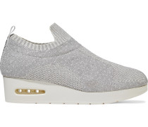 Woman Angie Metallic Stretch-knit Wedge Slip-on Sneakers Silver