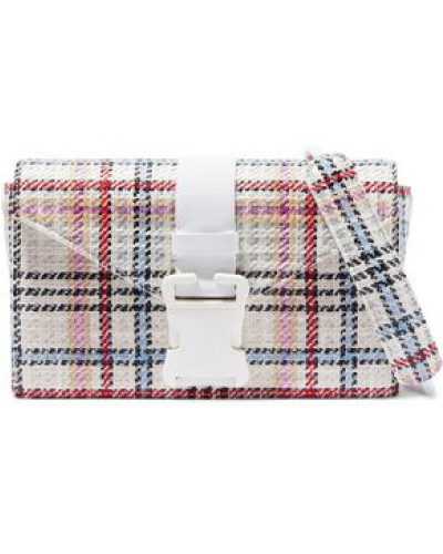 Devine Checked Tweed Shoulder Bag White Size --