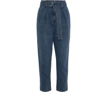 Woman Pablo Cropped Belted High-rise Tapered Jeans Mid Denim