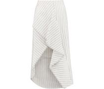 Ruffled Pinstriped Linen Skirt Ecru