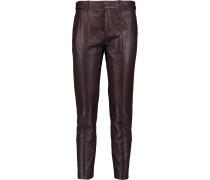 Leather Slim-leg Pants Merlot