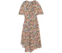 Aster ruffled floral-print silk crepe de chine midi dress