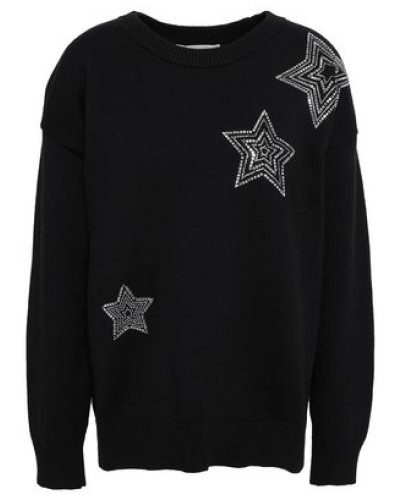Crystal-embellished French Cotton-blend Terry Sweatshirt Black