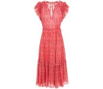 Linnea Ruffle-trimmed Printed Metallic Cotton-blend Dress