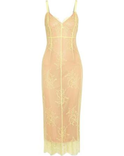 Tate Chantilly Lace Midi Dress Pastel Yellow Size 12