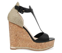Marielle metalli-trimmed leather cork wedge sandals