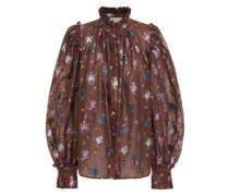 Bluse aus Floralem Jacquard in Metallic-optik mit Rüschenbesatz