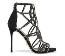 Royal crystal-embellished laser-cut suede sandals