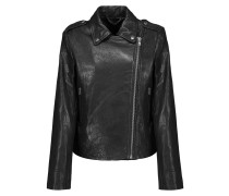 Harley Paneled Smooth And Textured-leather Biker Jacket Schwarz