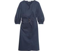 Belted cotton-poplin dress