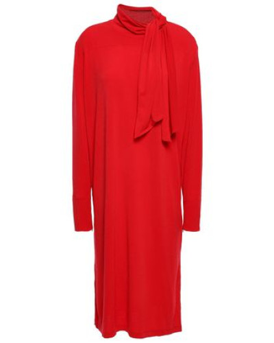 Knotted Stretch-crepe Dress Red