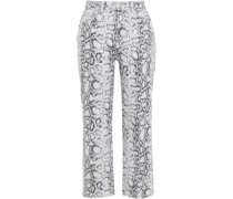 Cropped Snake-print High-rise Straight-leg Jeans