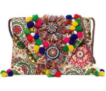 Embellished printed cotton shoulder bag