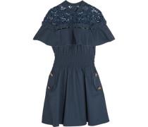 Hudson guipure lace-paneled cotton-poplin mini dress