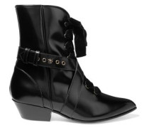 Lace-up velvet-trimmed glossed-leather ankle boots