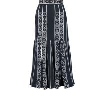 Pleated Intarsia-knit Midi Skirt Mitternachtsblau
