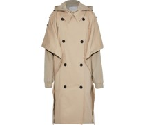 Oversized Layered Cotton-blend Gabardine Hooded Trench Coat