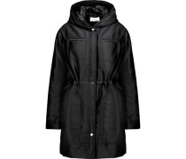 Gathered twill hooded coat