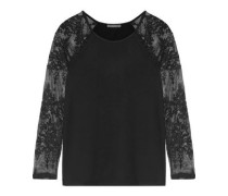 Caitlin lace-paneled stretch-modal jersey top