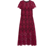 Giovanna Layered Guipure Lace Maxi Dress Burgunder