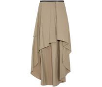 Asymmetric pleated cotton-blend skirt