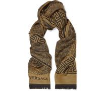 Fringed-trimmed Intarsia Wool Scarf Gelb