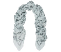 Iron Printed Modal And Cashmere-blend Scarf Hellgrau