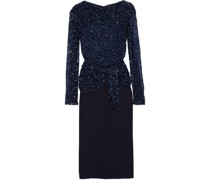 Jamilla Layered Embellished Tulle And Crepe Midi Dress