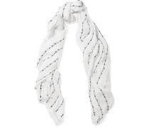 Sequin-embellished Linen Scarf Weiß