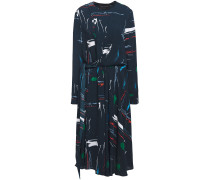 Woman Twisted Printed Crepe Dress Navy