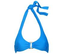 Ruched Ribbed Halterneck Bikini Top