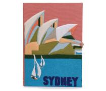 Sydney Metallic-trimmed Appliquéd Embroidered Canvas Clutch