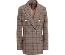 Double-breasted Checked Wool And Cotton-blend Blazer