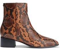 Woman Aslen Snake-effect Leather Ankle Boots Animal Print