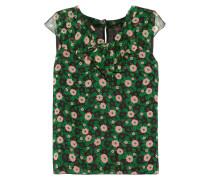 Ruffled Floral-print Silk-chiffon Top Grasgrün