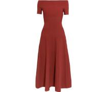 Off-the-shoulder paneled stretch-knit midi dress