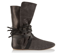 Nira Suede And Leather Ankle Boots Anthrazit
