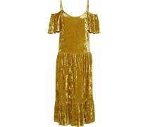 Cold-shoulder ruffled crushed-velvet midi dress