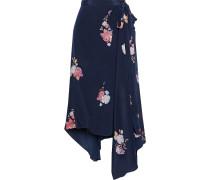 Regina Asymmetric Floral-print Crepe De Chine Wrap Skirt