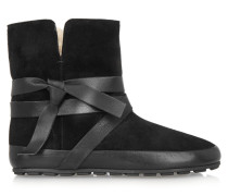 Nygel Leather And Shearling Ankle Boots Schwarz