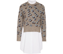 Layered Printed Knitted And Cotton Sweater Grau