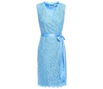 Julianna Satin-trimmed Corded Lace Mini Wrap Dress