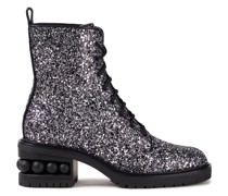 Embellished Glittered Woven Combat Boots